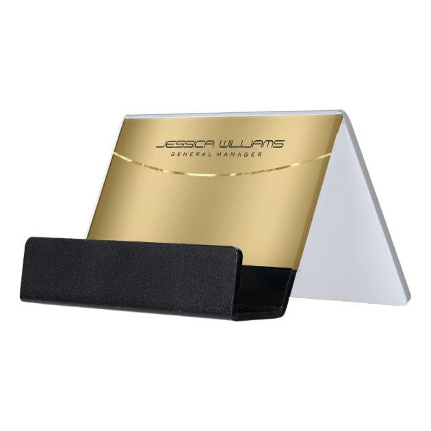 Modern Gold Metallic Looking Background Desk Business Card