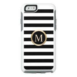 Modern Gold Monogram Initial Black & White Stripes