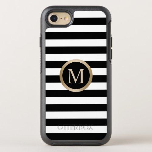 Modern Gold Monogram Initial Black & White Stripes Phone Case