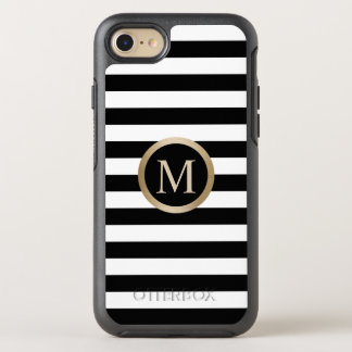 Modern Gold Monogram Initial Black & White Stripes OtterBox Symmetry iPhone 7 Case