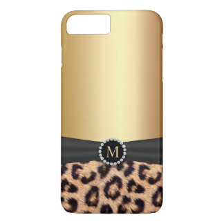 Modern Gold Monogram Leopard iPhone 8 Plus/7 Plus Case