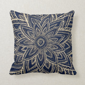 Modern gold navy blue abstract floral illustration throw pillow