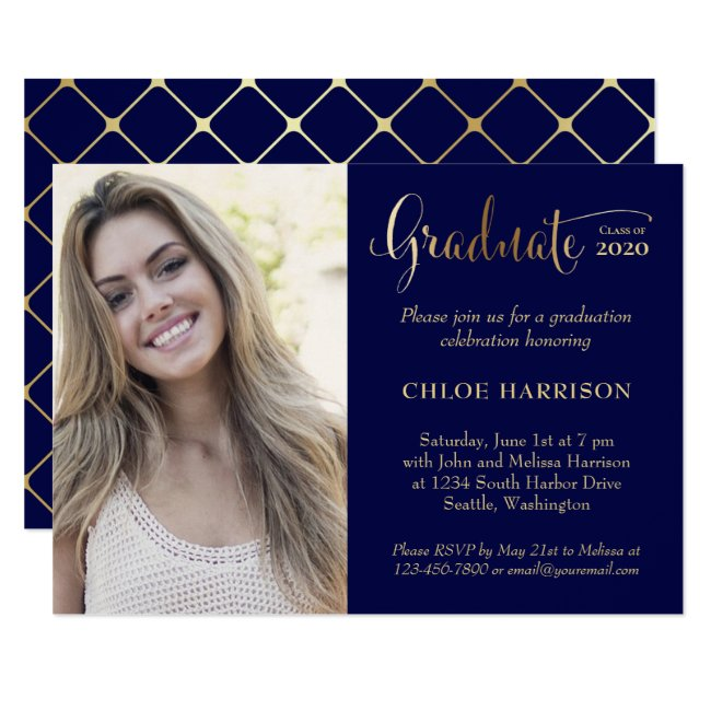 Modern Gold Navy Blue Photo 2020 Graduation Party Invitation
