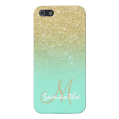 Modern Gold Ombre Mint Green Block Personalized Case For Iphone Se/5/5s at Zazzle