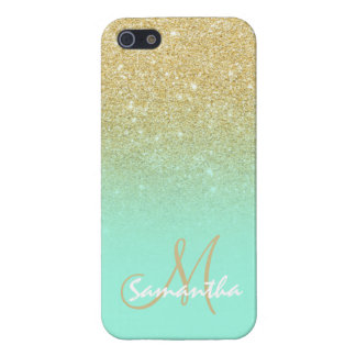 Modern gold ombre mint green block personalized case for iPhone SE/5/5s