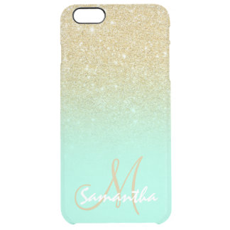 Modern gold ombre mint green block personalized clear iPhone 6 plus case