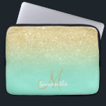 """Modern gold ombre mint green block personalized computer sleeve<br><div class=""""desc"""">A stylish and modern custom and personalized design with name and modern monogram on a chic faux gold ombre glitter and bright mint green color block. A glam and  custom design. This is a printed image,  there are no glitter elements or shine to it.</div>"""