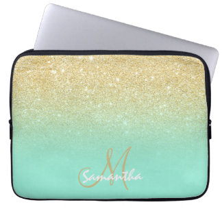 Modern gold ombre mint green block personalized computer sleeve