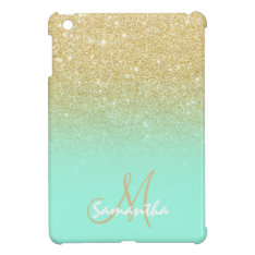 Modern Gold Ombre Mint Green Block Personalized Ipad Mini Case at Zazzle