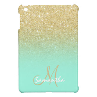 Modern gold ombre mint green block personalized iPad mini case