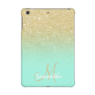 Modern gold ombre mint green block personalized iPad mini covers