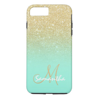 Modern gold ombre mint green block personalized iPhone 7 plus case