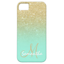 Modern gold ombre mint green block personalized iPhone SE/5/5s case