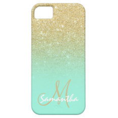 Modern Gold Ombre Mint Green Block Personalized Iphone Se/5/5s Case at Zazzle