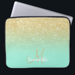 "Modern gold ombre mint green block personalized laptop sleeve<br><div class=""desc"">A stylish and modern custom and personalized design with name and modern monogram on a chic faux gold ombre glitter and bright mint green color block. A glam and  custom design. This is a printed image,  there are no glitter elements or shine to it.</div>"