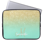 Modern gold ombre mint green block personalized laptop sleeve<br><div class='desc'>A stylish and modern custom and personalized design with name and modern monogram on a chic faux gold ombre glitter and bright mint green color block. A glam and  custom design. This is a printed image,  there are no glitter elements or shine to it.</div>