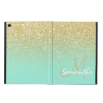 Modern gold ombre mint green block personalized powis iPad air 2 case