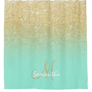 Modern Gold Ombre Mint Green Block Personalized Shower Curtain at Zazzle