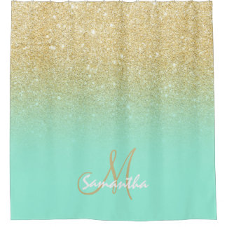 Modern gold ombre mint green block personalized shower curtainShower Curtains   Zazzle. Yellow And Teal Shower Curtain. Home Design Ideas