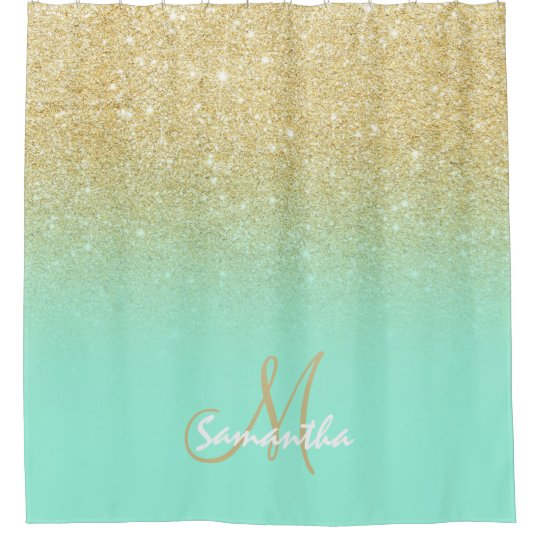 Modern Gold Ombre Mint Green Block Personalized Shower