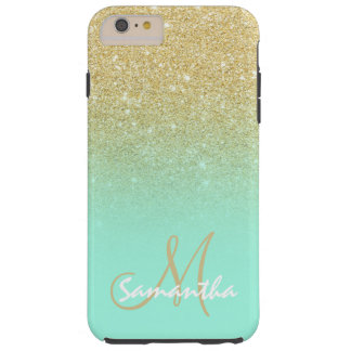 Modern gold ombre mint green block personalized tough iPhone 6 plus case