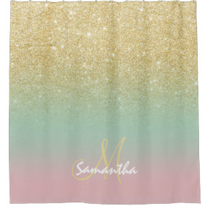 Modern Gold Ombre Mint Pink Block Monogram Shower Curtain