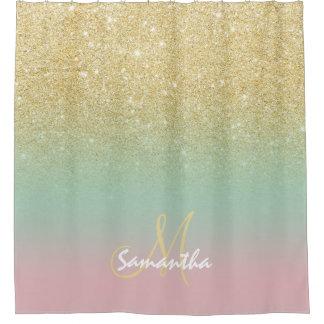 Nice Modern Gold Ombre Mint Pink Block Monogram Shower Curtain