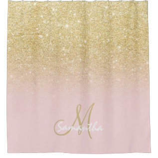 Modern Gold Ombre Soft Pink Block Personalized Shower Curtain at Zazzle