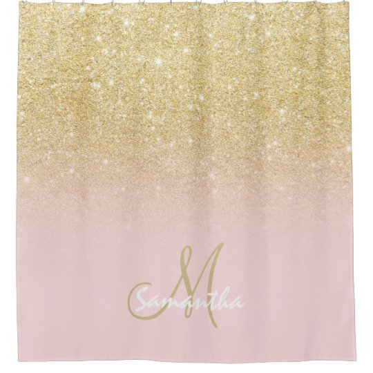 pink and gold shower curtain. Modern gold ombre soft pink block personalized shower curtain