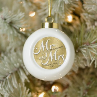 Modern gold our first Christmas Newlywed photo  Ceramic Ball Christmas Ornament