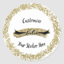 Modern Gold Paint Stroke Glam Makeup Eyelashes Classic Round Sticker