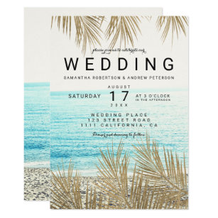 a116cd1d2 Modern gold palm tree elegant beach photo wedding invitation
