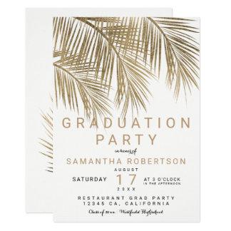 Modern gold palm tree elegant graduation party card