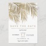 "Modern gold palm tree elegant save the date<br><div class=""desc"">Modern simple faux gold palm tree with simple typography,  a trendy and tropical save the date wedding theme on palm tree leaf.</div>"