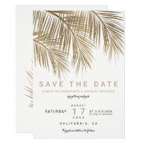 Modern gold palm tree elegant save the date card