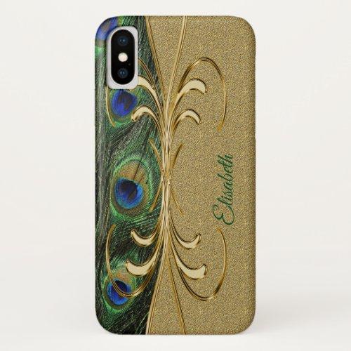 Modern Gold Peacock Feather Monogram Phone Case