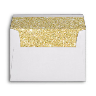 Modern Gold Pineapple Beach Wedding Gold Glitter Envelope