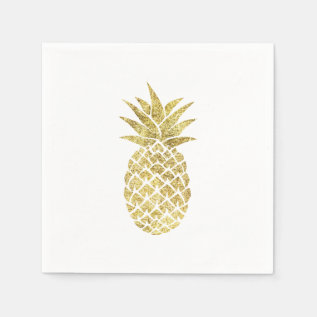 Modern Gold Pineapple Paper Napkin at Zazzle