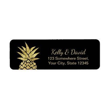 Beach Themed Modern Gold Pineapple Tropical Beach Wedding Label