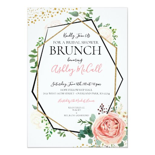 Modern Gold Pink Geometric Bridal Shower Invite
