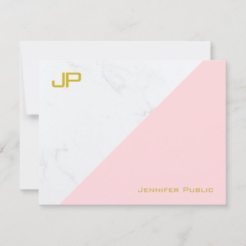 Modern Gold Pink White Marble Simple Template