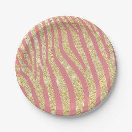Modern Gold & Pink Zebra Stripes Girly Paper Plate