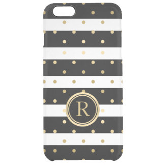 Modern Gold Polka Dots & Black & White Stripes Clear iPhone 6 Plus Case