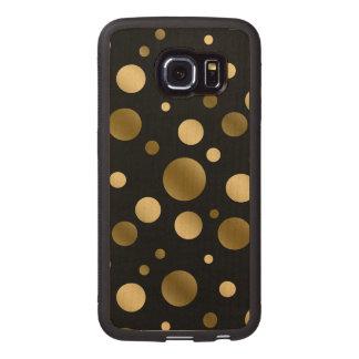 Modern Gold Random Circles Pattern Wood Phone Case