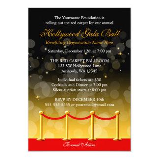 Modern Gold Red Carpet Hollywood Fundraiser Card
