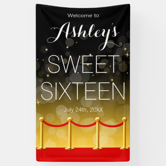 Modern Gold Red Carpet Hollywood Sweet 16 Banner | Zazzle.com