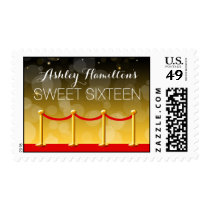 Modern Gold Red Carpet Hollywood Sweet 16 Postage