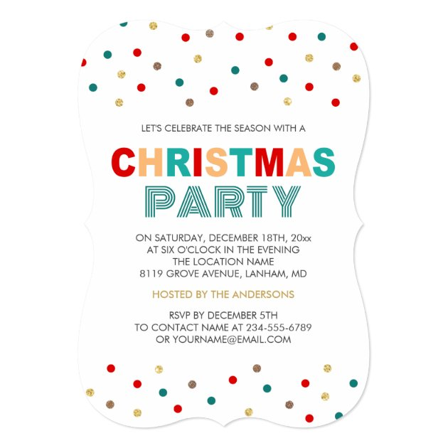 Modern Gold Red Green Confetti Christmas Party Card (back side)
