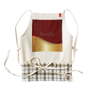 Modern,gold,red,metallic,trendy,abstract,pattern, Zazzle HEART Apron