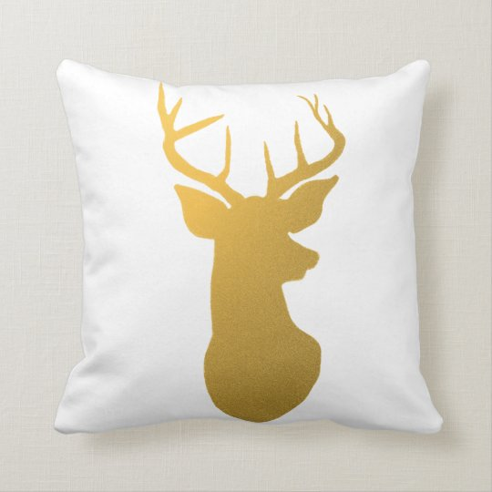 Modern Gold Pillows : Modern Gold Reindeer Holiday Throw Pillow Zazzle